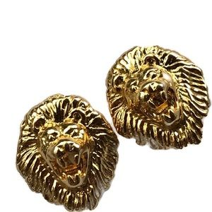 Kenneth Jay Lane lions head pierced earrings